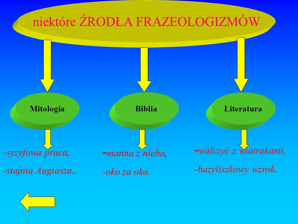 niektóre ŹRODŁA FRAZEOLOGIZMÓW MitologiaBibliaLiteratura -syzyfowa praca, -stajnia Augiasza.. - manna z nieba, -oko za oko. - walczyć z wiatrakami, -b