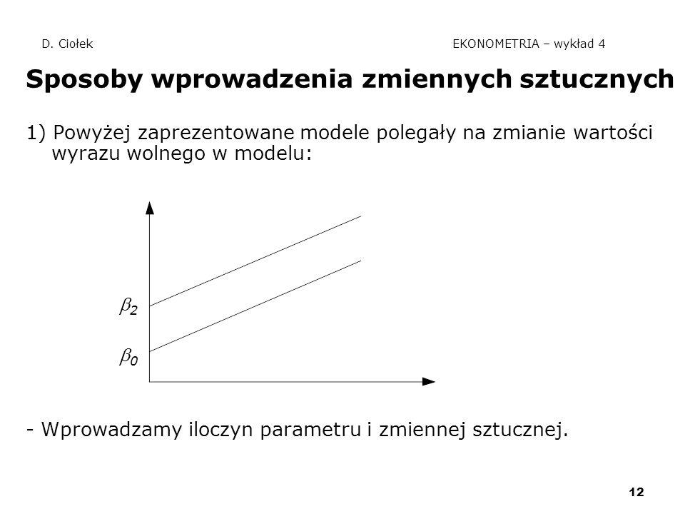 12 D. Ciołek EKONOMETRIA – wykład 4 Sposoby wprowadzenia zmiennych sztucznych 1) Powyżej zaprezentowane modele polegały na zmianie wartości wyrazu wol