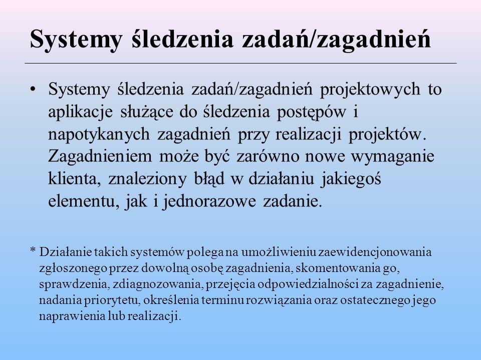 Systemy śledzenia zadań/zagadnień Systemy śledzenia zadań/zagadnień projektowych to aplikacje służące do śledzenia postępów i napotykanych zagadnień p
