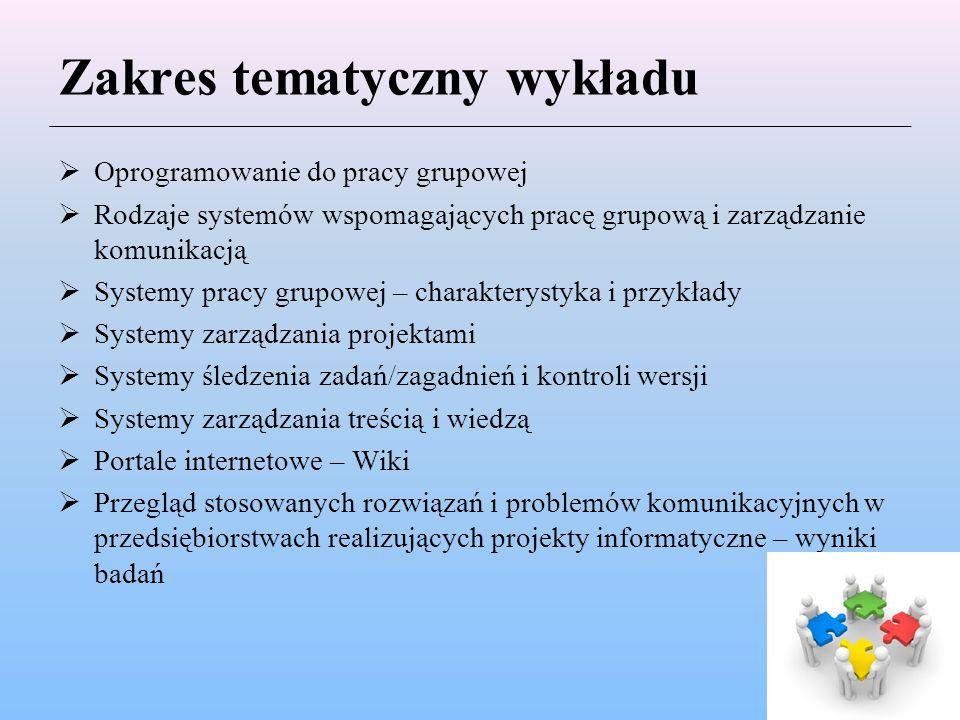 Zakres tematyczny wykładu  Oprogramowanie do pracy grupowej  Rodzaje systemów wspomagających pracę grupową i zarządzanie komunikacją  Systemy pracy