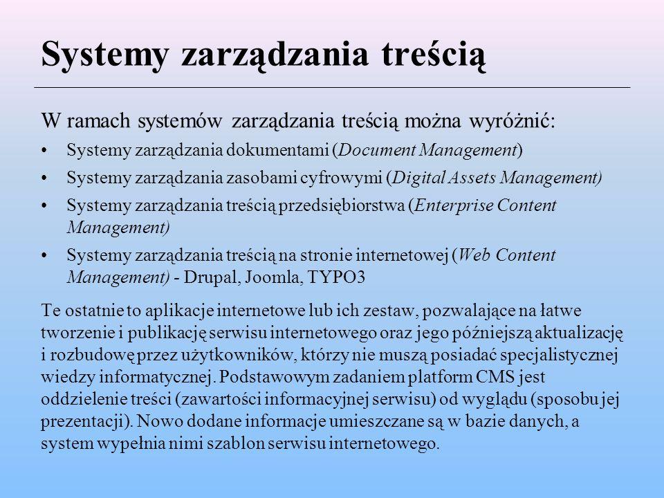 Systemy zarządzania treścią W ramach systemów zarządzania treścią można wyróżnić: Systemy zarządzania dokumentami (Document Management) Systemy zarząd