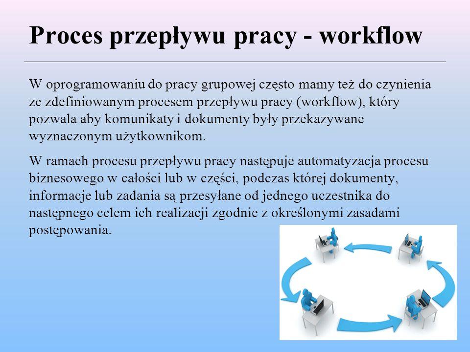 Proces przepływu pracy - workflow W oprogramowaniu do pracy grupowej często mamy też do czynienia ze zdefiniowanym procesem przepływu pracy (workflow)