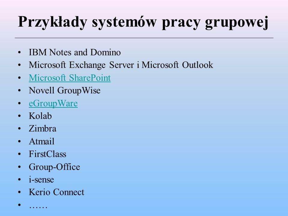 Przykłady systemów pracy grupowej IBM Notes and Domino Microsoft Exchange Server i Microsoft Outlook Microsoft SharePoint Novell GroupWise eGroupWare