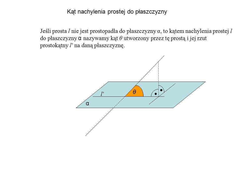 Kąt nachylenia prostej do płaszczyzny Jeśli prosta l nie jest prostopadła do płaszczyzny α, to kątem nachylenia prostej l do płaszczyzny α n azywamy k
