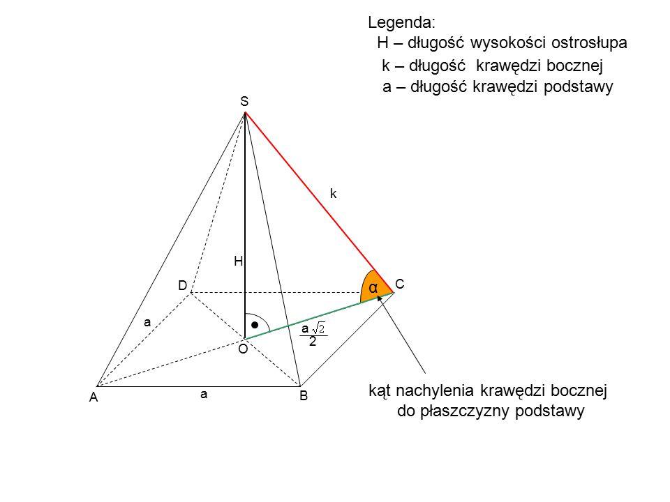 kąt nachylenia krawędzi bocznej do płaszczyzny podstawy C D S H a a O A B α Legenda: H – długość wysokości ostrosłupa k k – długość krawędzi bocznej a