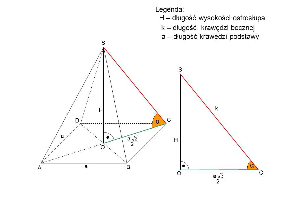 C D S H a a A B S α α C S α O O k a 2 Legenda: H – długość wysokości ostrosłupa k – długość krawędzi bocznej H a 2 a – długość krawędzi podstawy
