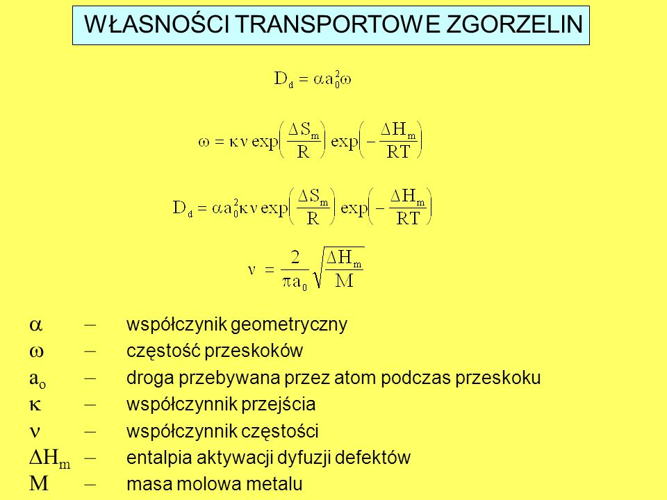 WŁASNOŚCI TRANSPORTOWE ZGORZELIN  – współczynik geometryczny  – częstość przeskoków a o – droga przebywana przez atom podczas przeskoku  – współczy