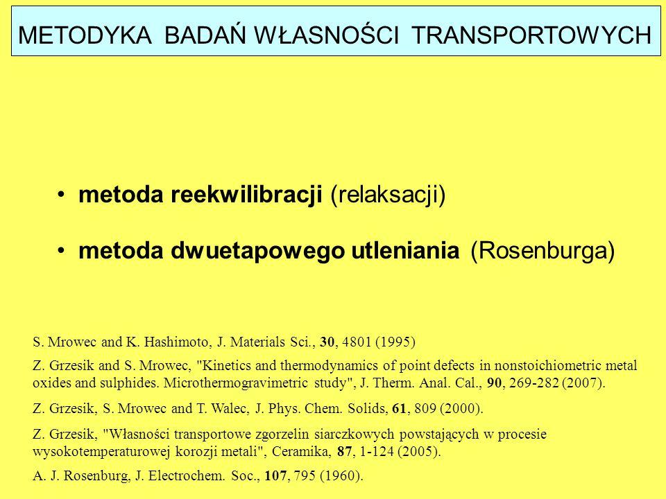 METODYKA BADAŃ WŁASNOŚCI TRANSPORTOWYCH metoda reekwilibracji (relaksacji) metoda dwuetapowego utleniania (Rosenburga) Z. Grzesik,