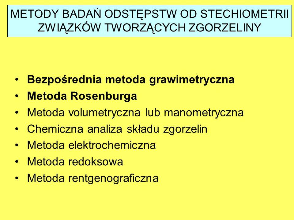 METODY BADAŃ ODSTĘPSTW OD STECHIOMETRII ZWIĄZKÓW TWORZĄCYCH ZGORZELINY Bezpośrednia metoda grawimetryczna Metoda Rosenburga Metoda volumetryczna lub manometryczna Chemiczna analiza składu zgorzelin Metoda elektrochemiczna Metoda redoksowa Metoda rentgenograficzna