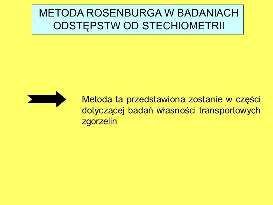 METODA ROSENBURGA W BADANIACH ODSTĘPSTW OD STECHIOMETRII Metoda ta przedstawiona zostanie w części dotyczącej badań własności transportowych zgorzelin