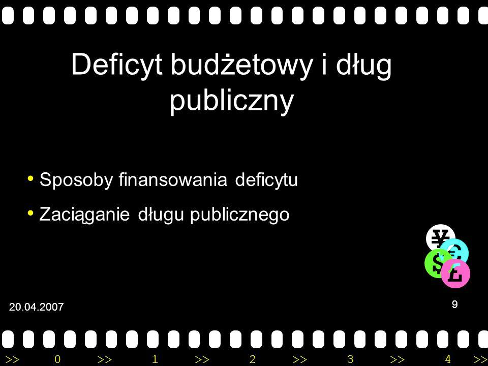 >>0 >>1 >> 2 >> 3 >> 4 >> Polityka fiskalna Aktywna polityka fiskalna Pasywna polityka fiskalna 8 20.04.2007