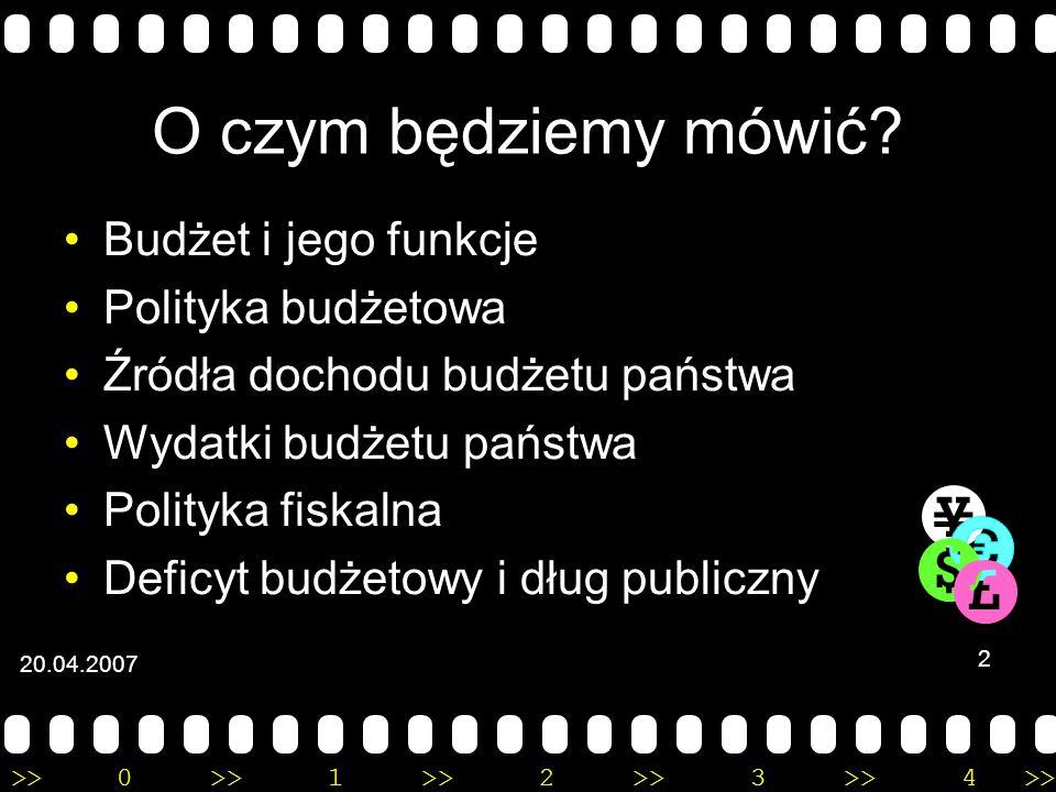 >>0 >>1 >> 2 >> 3 >> 4 >> Budżet państwa Wojciech Drzazga Szymon Domański Wydział Geografii i Studiów Regionalnych UW 20.04.2007 1