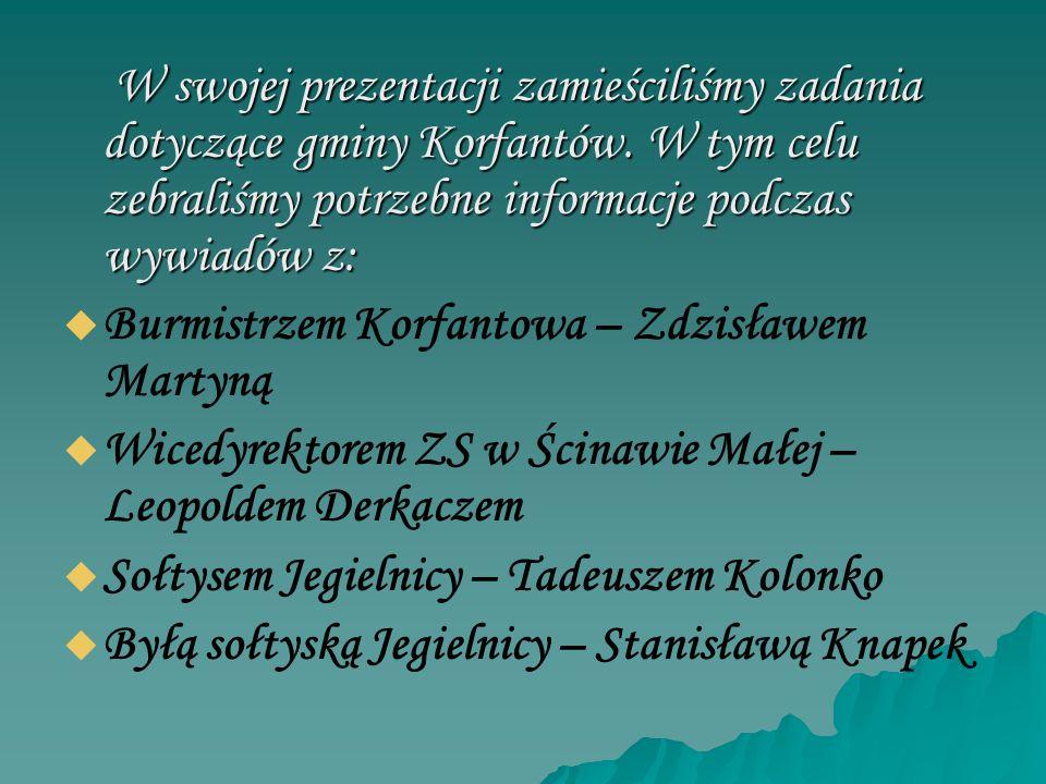W swojej prezentacji zamieściliśmy zadania dotyczące gminy Korfantów. W tym celu zebraliśmy potrzebne informacje podczas wywiadów z: W swojej prezenta