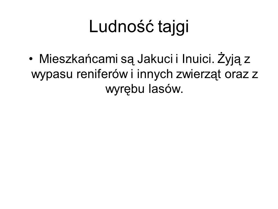 Ludność tajgi Mieszkańcami są Jakuci i Inuici.
