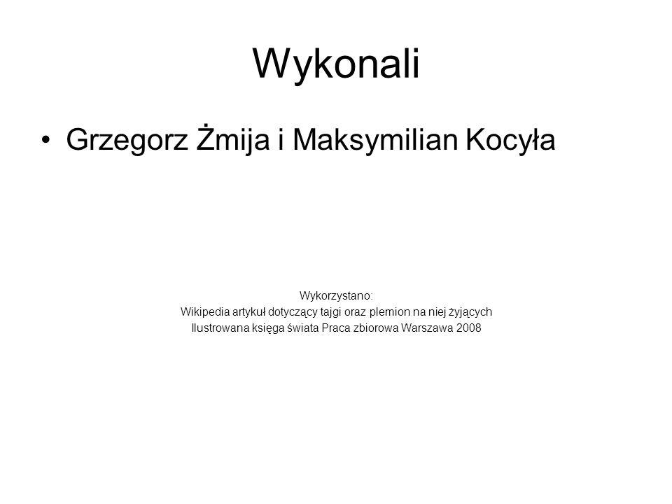 Wykonali Grzegorz Żmija i Maksymilian Kocyła Wykorzystano: Wikipedia artykuł dotyczący tajgi oraz plemion na niej żyjących Ilustrowana księga świata Praca zbiorowa Warszawa 2008