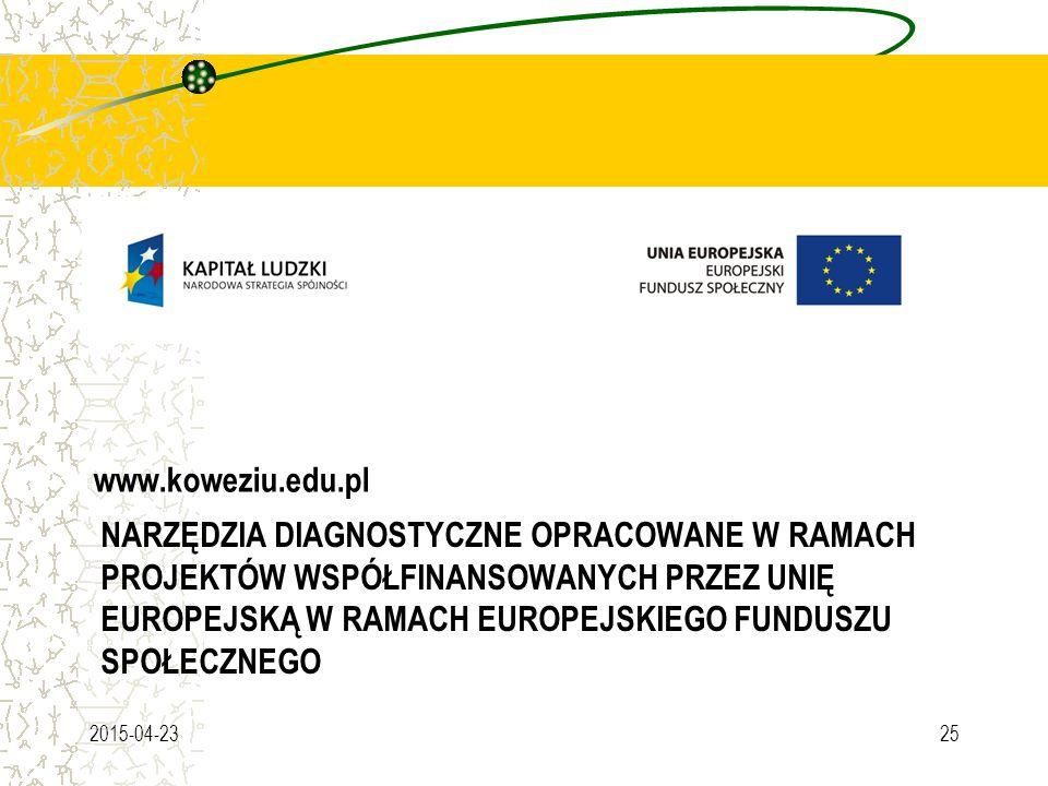 NARZĘDZIA DIAGNOSTYCZNE OPRACOWANE W RAMACH PROJEKTÓW WSPÓŁFINANSOWANYCH PRZEZ UNIĘ EUROPEJSKĄ W RAMACH EUROPEJSKIEGO FUNDUSZU SPOŁECZNEGO www.koweziu.edu.pl 2015-04-2325