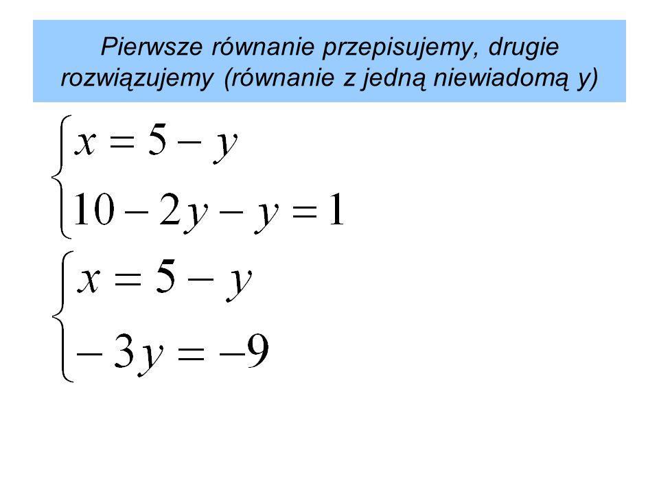 Mając wyznaczoną wielkość y, możemy obliczyć wartość x. Odpowiedź: