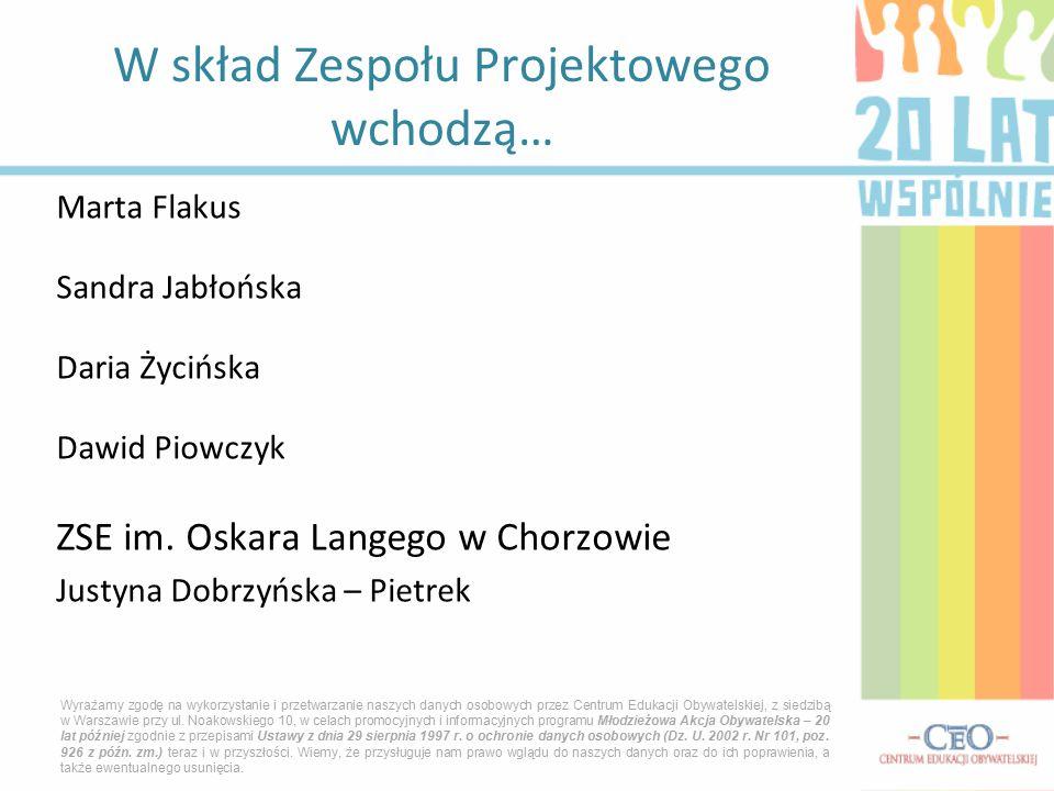 Marta Flakus Sandra Jabłońska Daria Życińska Dawid Piowczyk ZSE im. Oskara Langego w Chorzowie Justyna Dobrzyńska – Pietrek W skład Zespołu Projektowe