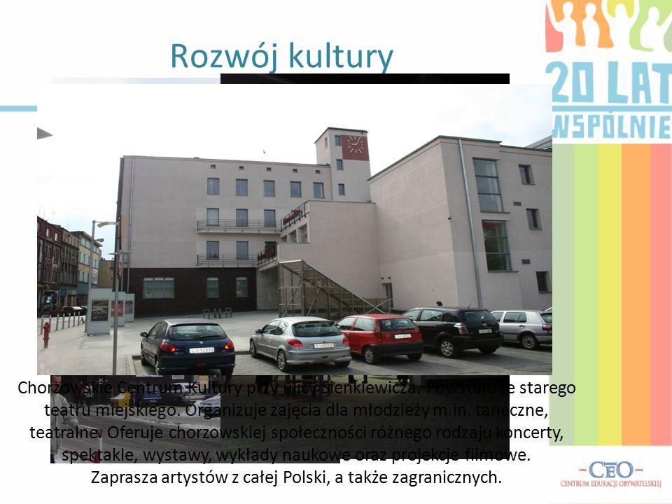 Rozwój kultury Chorzowskie Centrum Kultury przy ulicy Sienkiewicza. Powstałe ze starego teatru miejskiego. Organizuje zajęcia dla młodzieży m.in. tane
