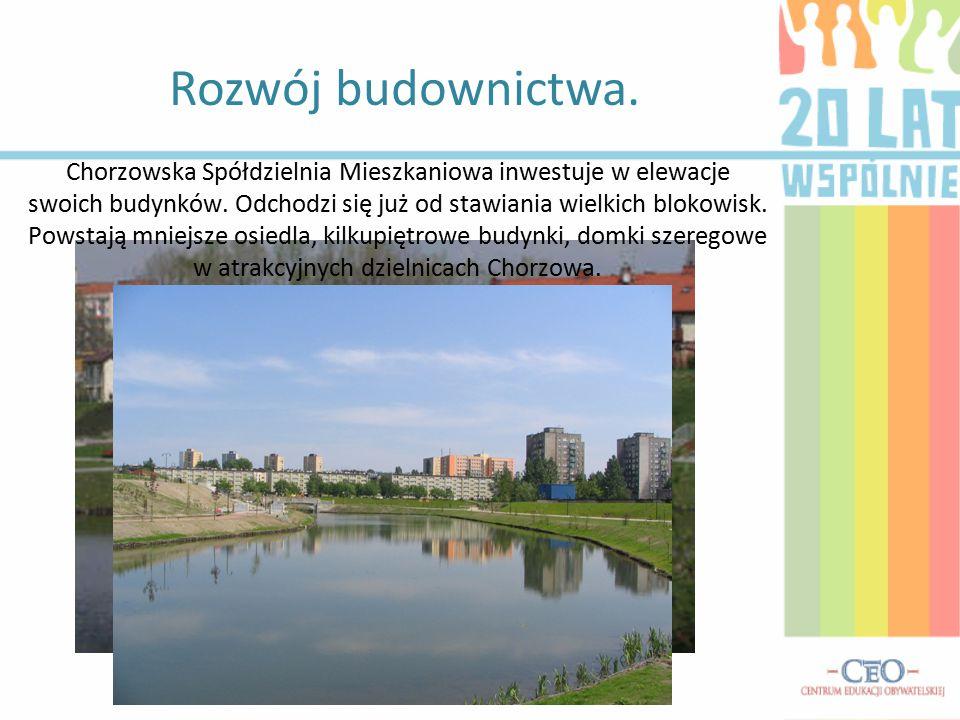 Rozwój budownictwa. Chorzowska Spółdzielnia Mieszkaniowa inwestuje w elewacje swoich budynków. Odchodzi się już od stawiania wielkich blokowisk. Powst