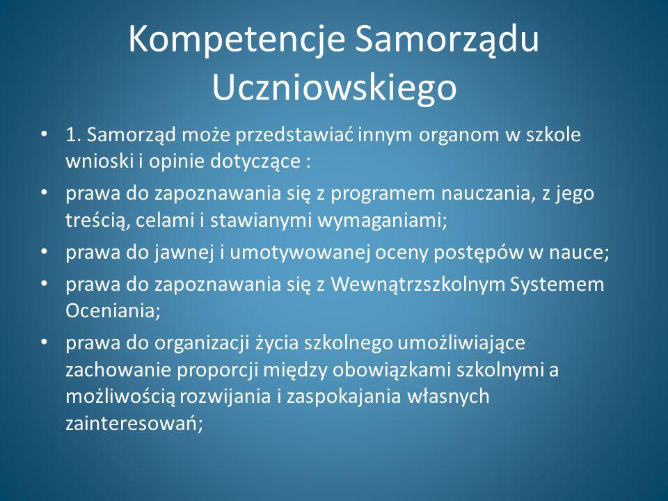 Kompetencje Samorządu Uczniowskiego 1. Samorząd może przedstawiać innym organom w szkole wnioski i opinie dotyczące : prawa do zapoznawania się z prog