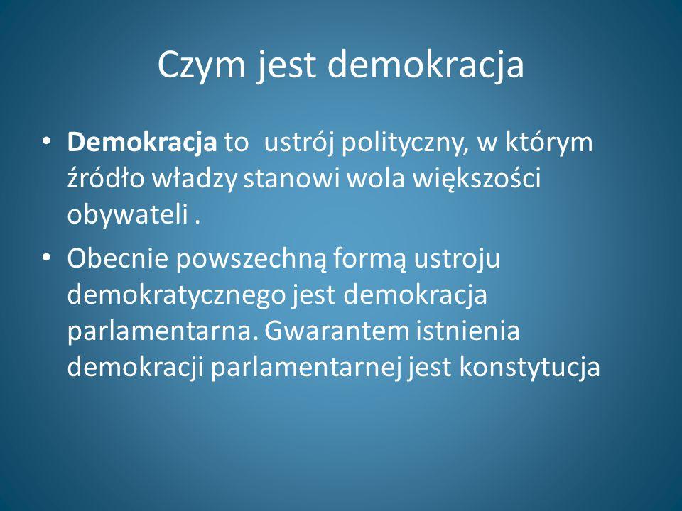 Czym jest demokracja Demokracja to ustrój polityczny, w którym źródło władzy stanowi wola większości obywateli. Obecnie powszechną formą ustroju demok