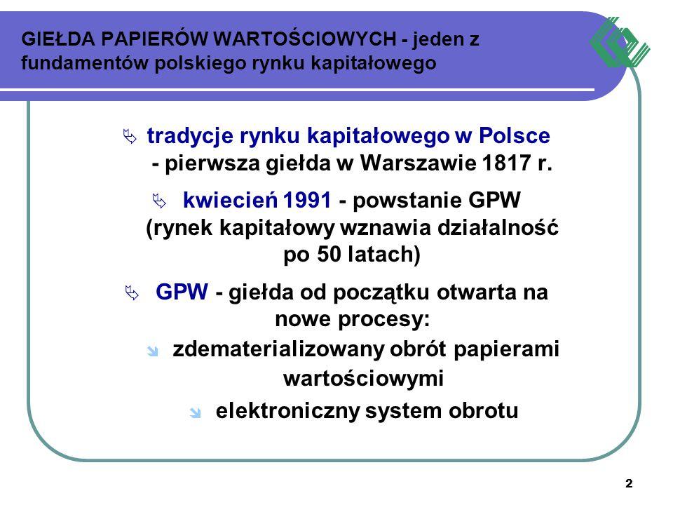 2 GIEŁDA PAPIERÓW WARTOŚCIOWYCH - jeden z fundamentów polskiego rynku kapitałowego  tradycje rynku kapitałowego w Polsce - pierwsza giełda w Warszawi