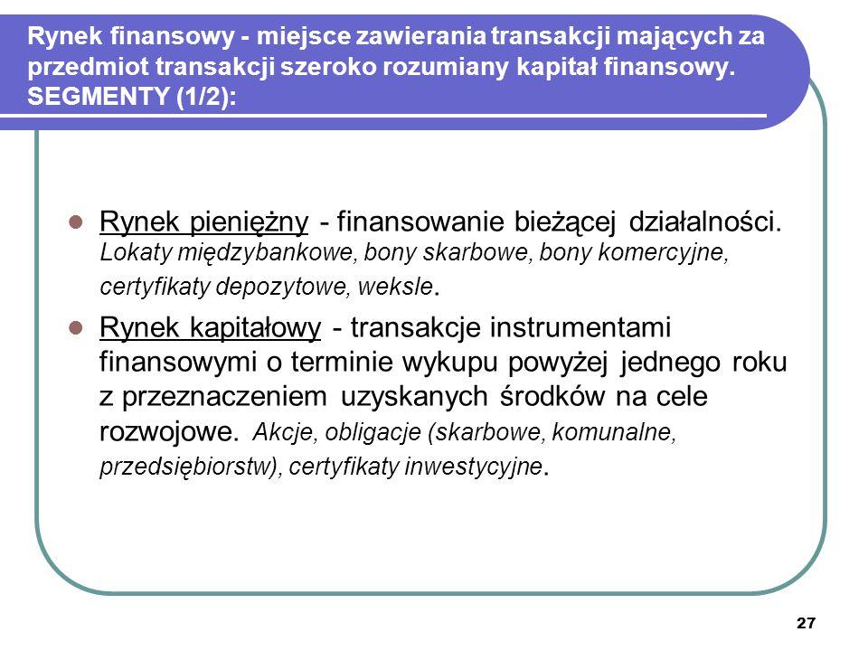 27 Rynek finansowy - miejsce zawierania transakcji mających za przedmiot transakcji szeroko rozumiany kapitał finansowy. SEGMENTY (1/2): Rynek pienięż