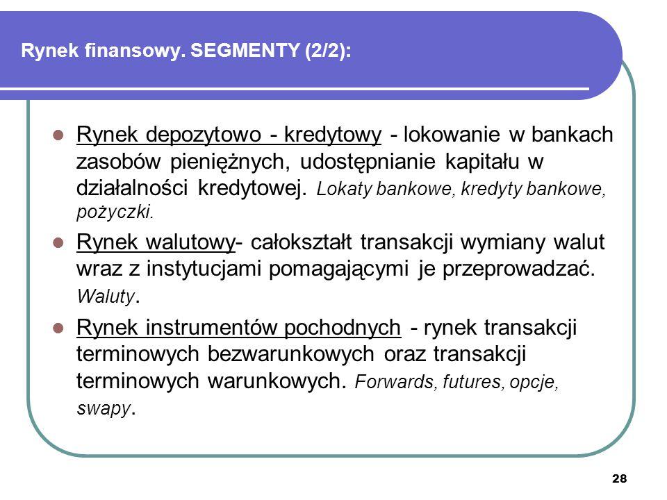 28 Rynek finansowy. SEGMENTY (2/2): Rynek depozytowo - kredytowy - lokowanie w bankach zasobów pieniężnych, udostępnianie kapitału w działalności kred