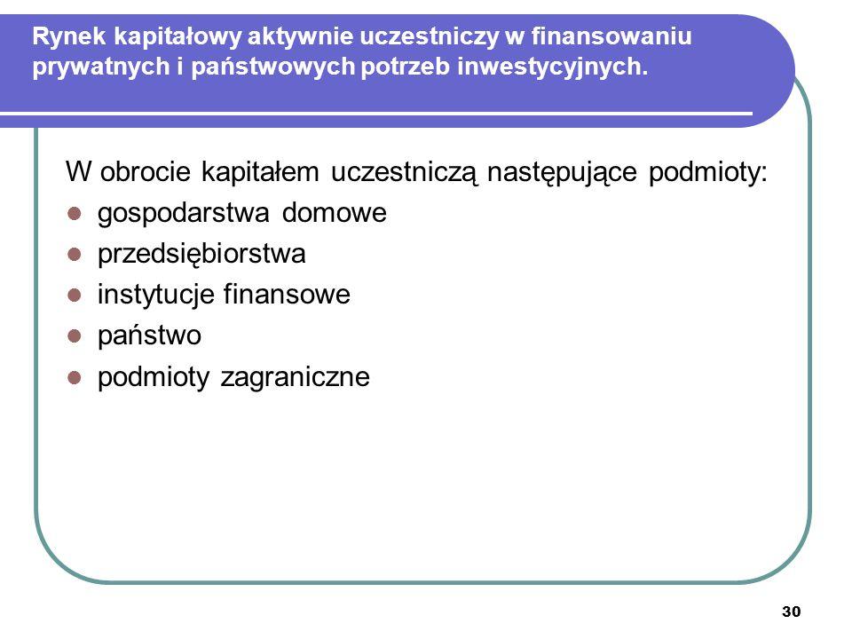 30 Rynek kapitałowy aktywnie uczestniczy w finansowaniu prywatnych i państwowych potrzeb inwestycyjnych. W obrocie kapitałem uczestniczą następujące p