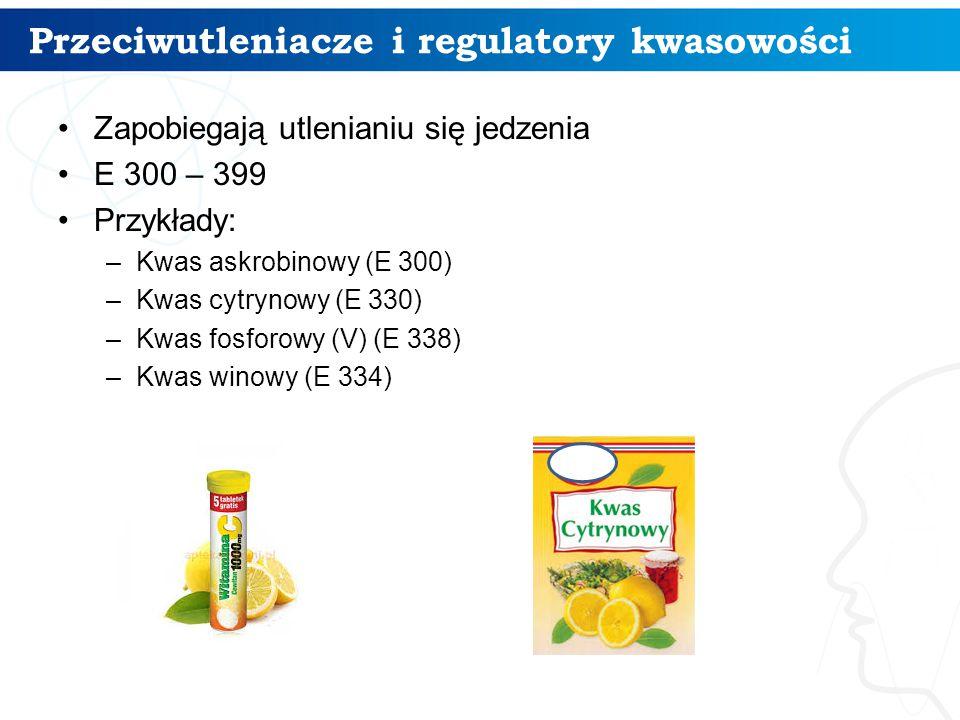 Przeciwutleniacze i regulatory kwasowości 6 Zapobiegają utlenianiu się jedzenia E 300 – 399 Przykłady: –Kwas askrobinowy (E 300) –Kwas cytrynowy (E 330) –Kwas fosforowy (V) (E 338) –Kwas winowy (E 334)