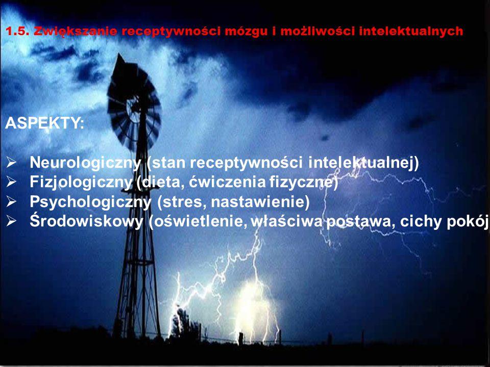 12 ASPEKTY:  Neurologiczny (stan receptywności intelektualnej)  Fizjologiczny (dieta, ćwiczenia fizyczne)  Psychologiczny (stres, nastawienie)  Śr