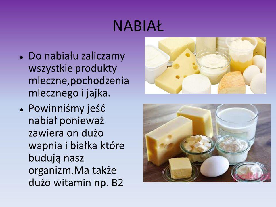 NABIAŁ Do nabiału zaliczamy wszystkie produkty mleczne,pochodzenia mlecznego i jajka. Powinniśmy jeść nabiał ponieważ zawiera on dużo wapnia i białka