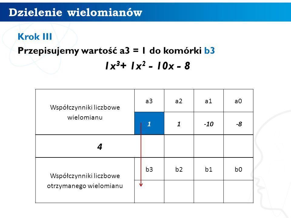 Dzielenie wielomianów 10 Krok III Przepisujemy wartość a3 = 1 do komórki b3 1x 3 + 1x 2 - 10x - 8 Współczynniki liczbowe wielomianu a3a2a1a0 11-10 -8 4 Współczynniki liczbowe otrzymanego wielomianu b3b2b1b0