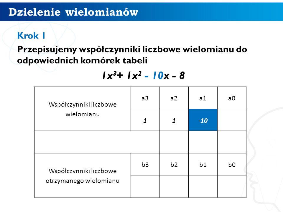 Dzielenie wielomianów 6 Krok 1 Przepisujemy współczynniki liczbowe wielomianu do odpowiednich komórek tabeli 1x 3 + 1x 2 - 10x - 8 Współczynniki liczbowe wielomianu a3a2a1a0 11-10 Współczynniki liczbowe otrzymanego wielomianu b3b2b1b0