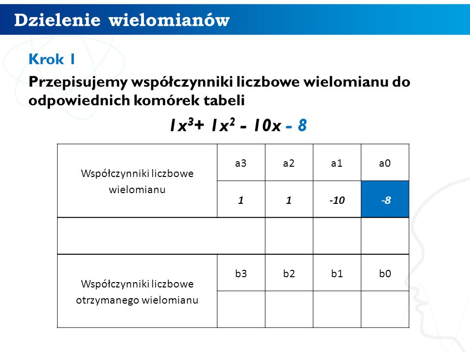 Dzielenie wielomianów 7 Krok 1 Przepisujemy współczynniki liczbowe wielomianu do odpowiednich komórek tabeli 1x 3 + 1x 2 - 10x - 8 Współczynniki liczbowe wielomianu a3a2a1a0 11-10 -8 Współczynniki liczbowe otrzymanego wielomianu b3b2b1b0