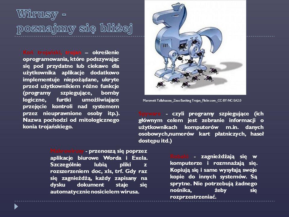 Koń trojański, trojan – określenie oprogramowania, które podszywając się pod przydatne lub ciekawe dla użytkownika aplikacje dodatkowo implementuje ni