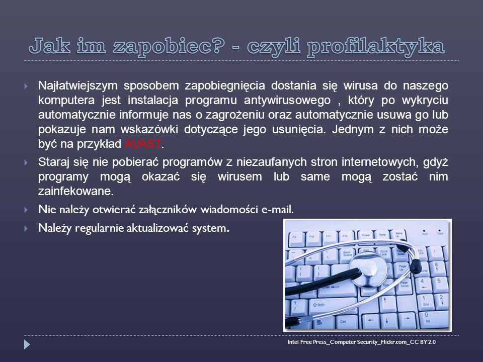  Najłatwiejszym sposobem zapobiegnięcia dostania się wirusa do naszego komputera jest instalacja programu antywirusowego, który po wykryciu automatycznie informuje nas o zagrożeniu oraz automatycznie usuwa go lub pokazuje nam wskazówki dotyczące jego usunięcia.