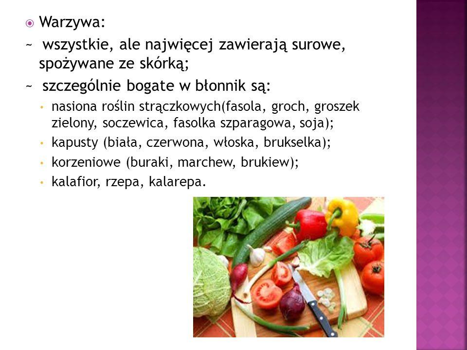  Warzywa: ~ wszystkie, ale najwięcej zawierają surowe, spożywane ze skórką; ~ szczególnie bogate w błonnik są: nasiona roślin strączkowych(fasola, gr