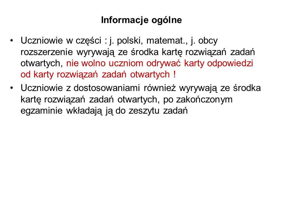 Informacje ogólne Uczniowie w części : j. polski, matemat., j.