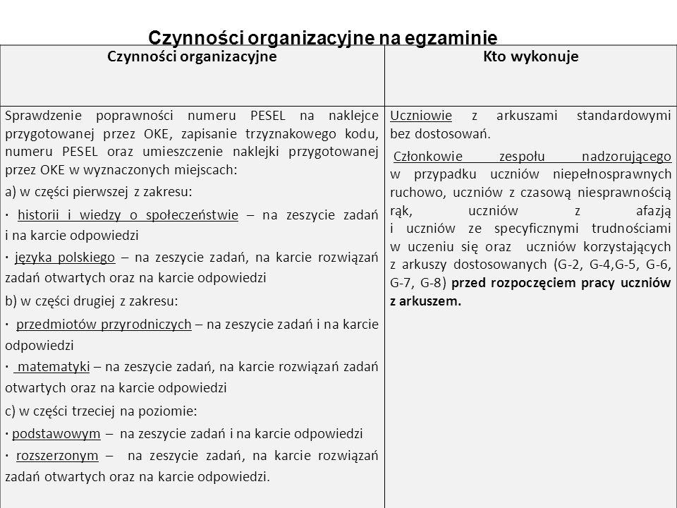 9 Czynności organizacyjneKto wykonuje Sprawdzenie poprawności numeru PESEL na naklejce przygotowanej przez OKE, zapisanie trzyznakowego kodu, numeru PESEL oraz umieszczenie naklejki przygotowanej przez OKE w wyznaczonych miejscach: a) w części pierwszej z zakresu: · historii i wiedzy o społeczeństwie – na zeszycie zadań i na karcie odpowiedzi · języka polskiego – na zeszycie zadań, na karcie rozwiązań zadań otwartych oraz na karcie odpowiedzi b) w części drugiej z zakresu: · przedmiotów przyrodniczych – na zeszycie zadań i na karcie odpowiedzi · matematyki – na zeszycie zadań, na karcie rozwiązań zadań otwartych oraz na karcie odpowiedzi c) w części trzeciej na poziomie: · podstawowym – na zeszycie zadań i na karcie odpowiedzi · rozszerzonym – na zeszycie zadań, na karcie rozwiązań zadań otwartych oraz na karcie odpowiedzi.