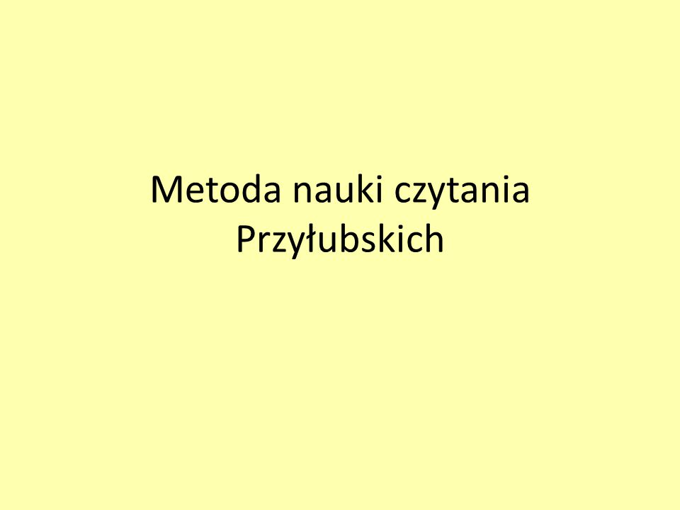 Metoda nauki czytania Przyłubskich