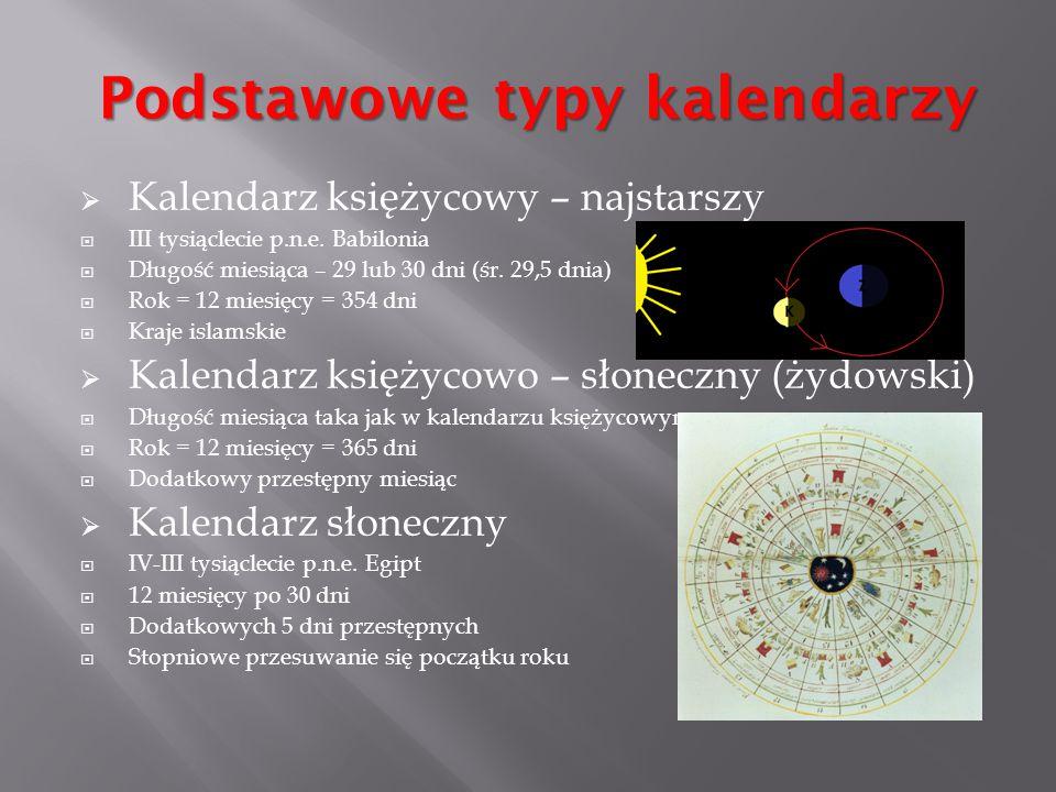  Kalendarz księżycowy – najstarszy  III tysiąclecie p.n.e. Babilonia  Długość miesiąca – 29 lub 30 dni (śr. 29,5 dnia)  Rok = 12 miesięcy = 354 dn
