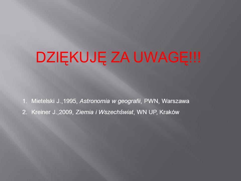DZIĘKUJĘ ZA UWAGĘ!!! 1.Mietelski J.,1995, Astronomia w geografii, PWN, Warszawa 2.Kreiner J.,2009, Ziemia i Wszechświat, WN UP, Kraków