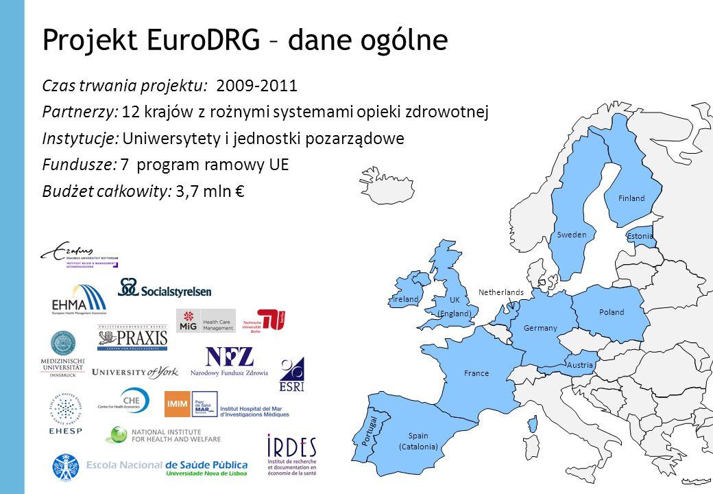 Projekt EuroDRG – dane ogólne Czas trwania projektu: 2009-2011 Partnerzy: 12 krajów z rożnymi systemami opieki zdrowotnej Instytucje: Uniwersytety i j