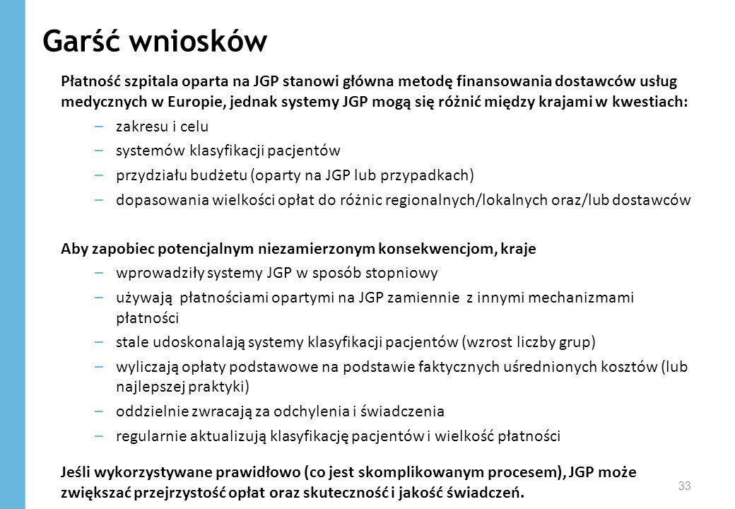 Garść wniosków 33 Płatność szpitala oparta na JGP stanowi główna metodę finansowania dostawców usług medycznych w Europie, jednak systemy JGP mogą się