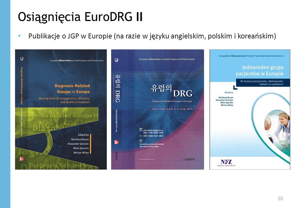 Osiągnięcia EuroDRG II Publikacje o JGP w Europie (na razie w języku angielskim, polskim i koreańskim) 35
