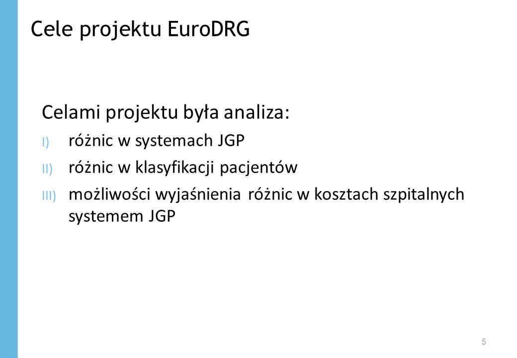 Cele projektu EuroDRG 5 Celami projektu była analiza: I) różnic w systemach JGP II) różnic w klasyfikacji pacjentów III) możliwości wyjaśnienia różnic