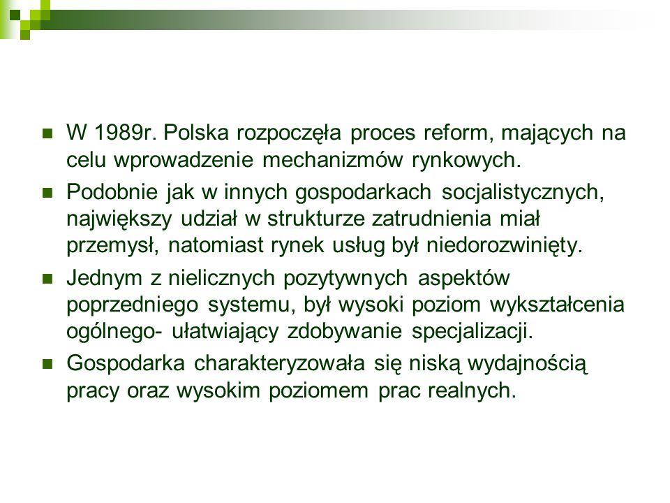 W 1989r. Polska rozpoczęła proces reform, mających na celu wprowadzenie mechanizmów rynkowych. Podobnie jak w innych gospodarkach socjalistycznych, na