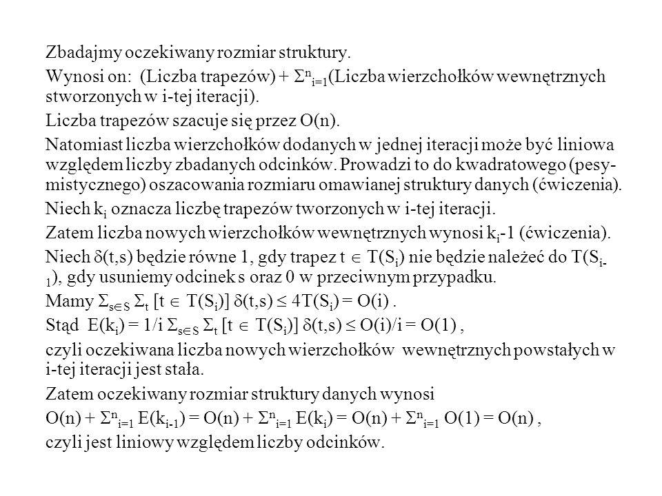 Zbadajmy oczekiwany rozmiar struktury. Wynosi on: (Liczba trapezów) +  n i=1 (Liczba wierzchołków wewnętrznych stworzonych w i-tej iteracji). Liczba
